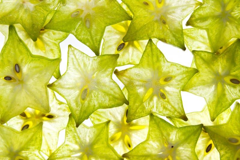 切片在白色的果子星 图库摄影