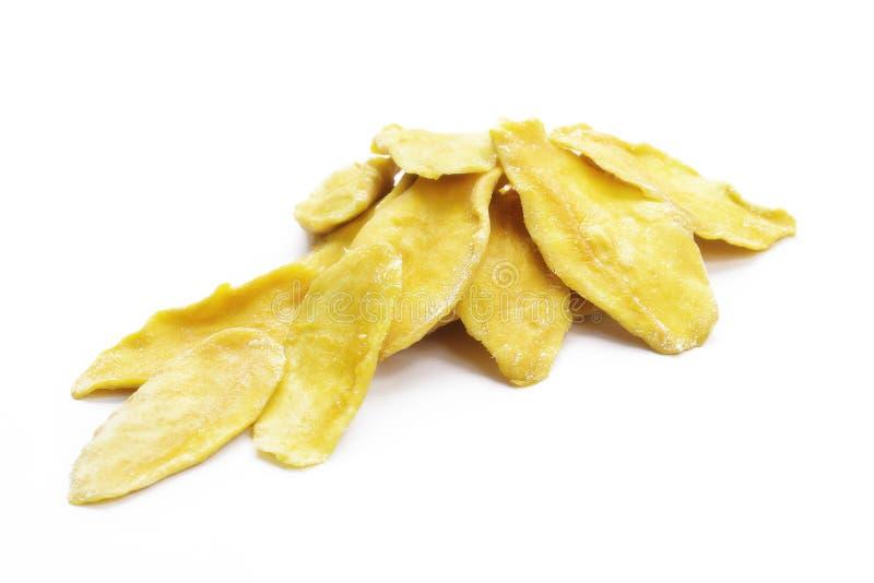 切片干芒果被隔绝的白色背景 图库摄影