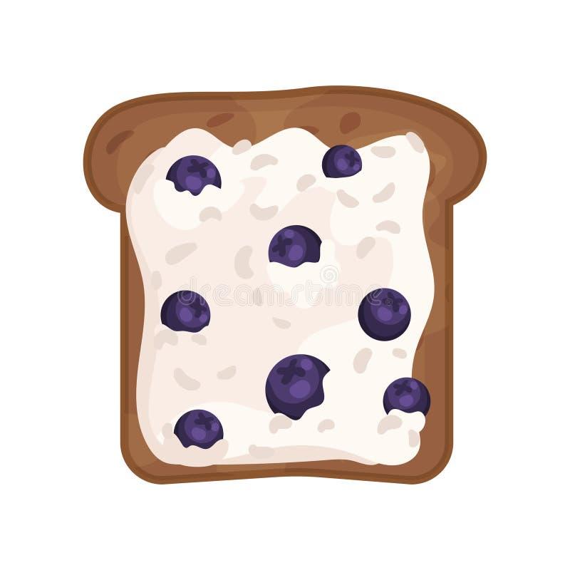 切片新鲜的敬酒的黑麦面包用酸奶干酪和蓝莓 可口健康三明治 平的传染媒介象 库存例证