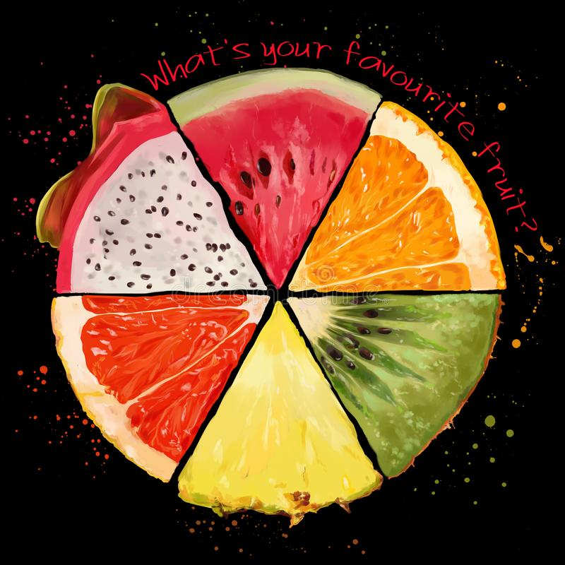 切片热带水果 皇族释放例证