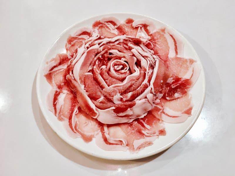 切片猪肉上升了 图库摄影