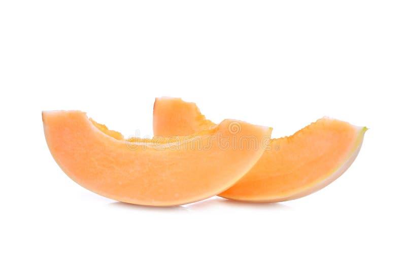 切片甘露melon& x28; sunlady& x29;在白色 免版税库存照片