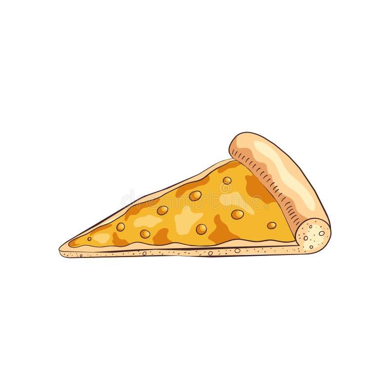 切片用不同的四乳酪的鲜美煮熟的比萨 皇族释放例证