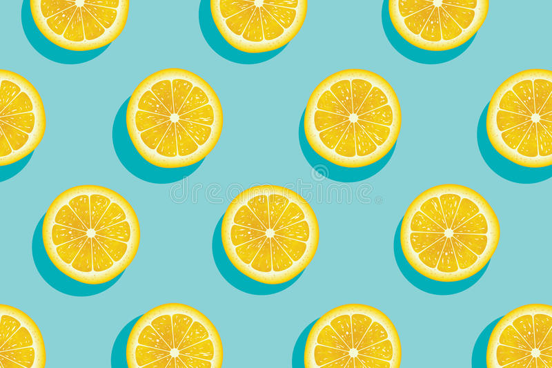 切片黄色柠檬夏天背景 向量例证