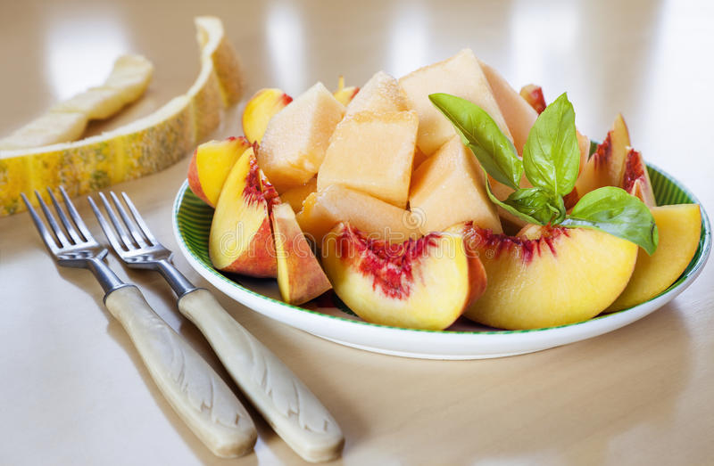 切的果子桃子瓜 库存照片