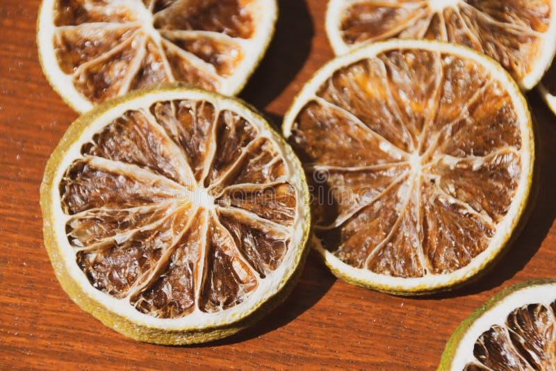 切的柠檬干片断  免版税库存图片