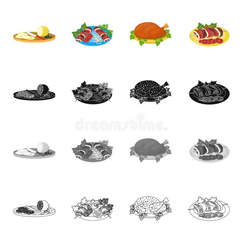 切的柠檬,烤肉串,鲜美食物,炸鸡,与菜的烤肉串 食物和烹调集合汇集象 库存例证