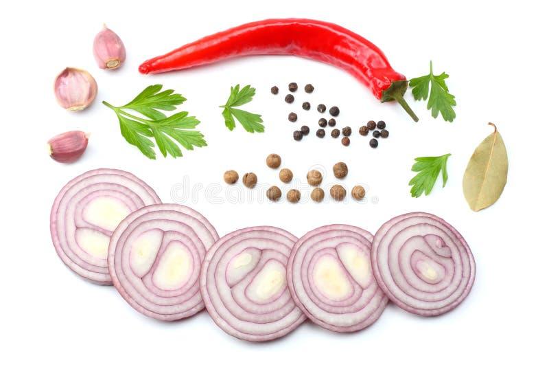 切的红洋葱、炽热在白色背景隔绝的辣椒和香料 顶视图 库存照片