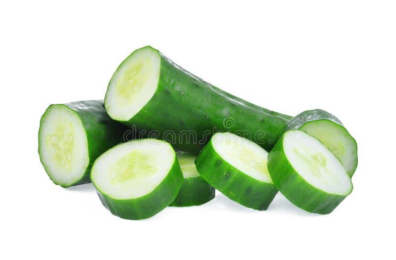 切的绿色新鲜的日本黄瓜、suhyo或者夏南瓜 免版税库存图片