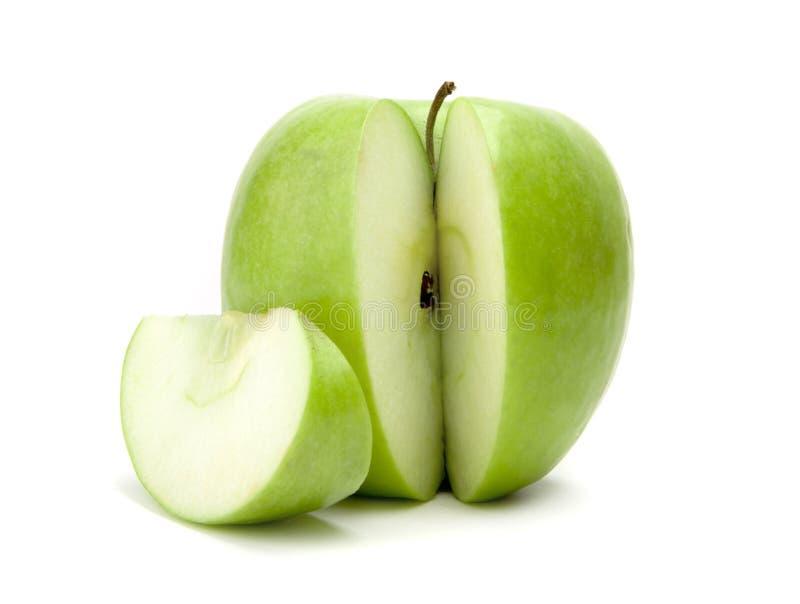 切的绿色苹果 免版税库存图片