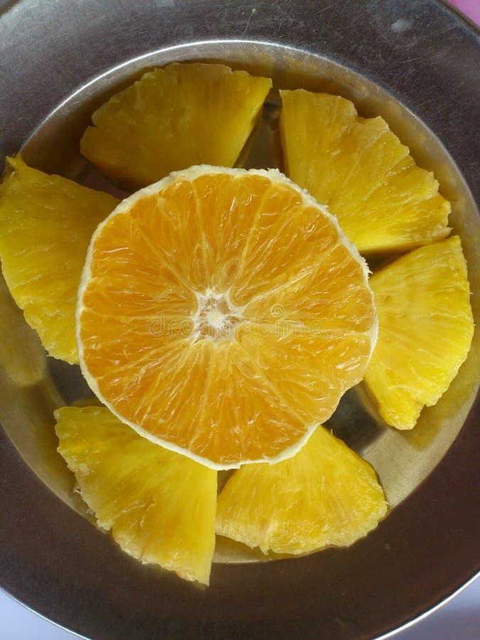 切的菠萝 免版税库存图片