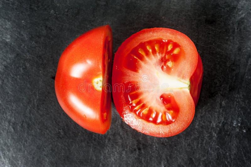 切的蕃茄,三个片断 免版税库存图片