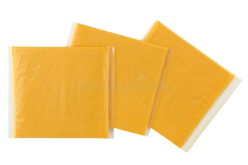 切的Smokey BBQ加工乳酪,在组装包裹的唯一切片 免版税图库摄影