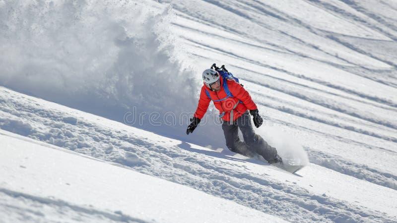 切细一些粉末的自由的样式雪板车手 免版税图库摄影