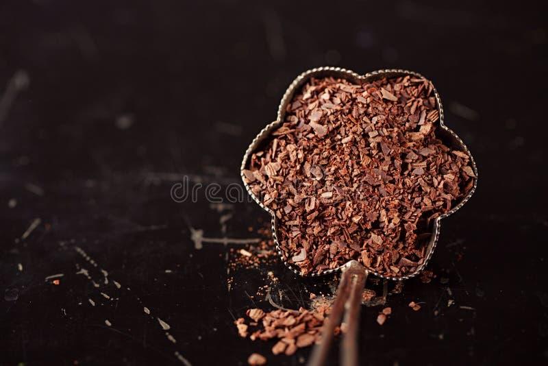切细的巧克力剥落 库存图片