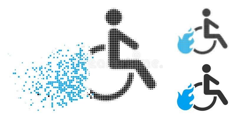 切细的Pixelated中间影调被射击的残疾人象 向量例证