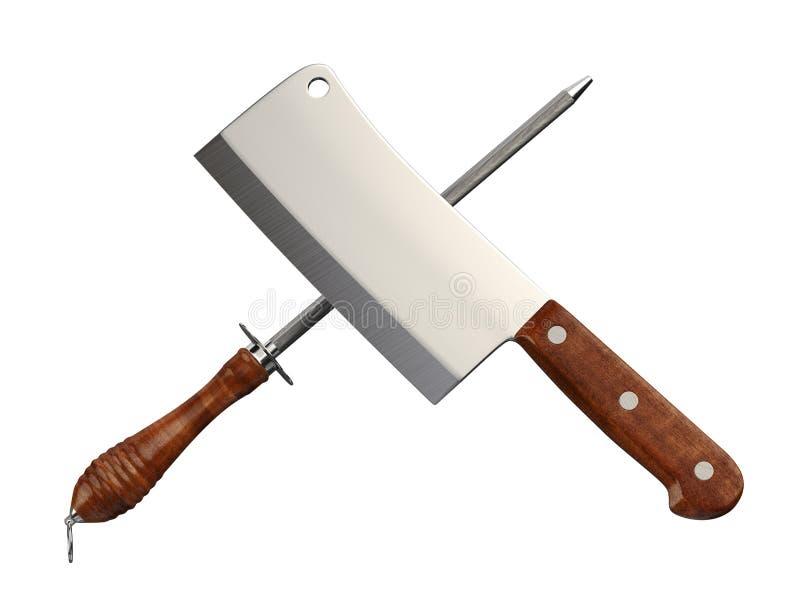 切肉刀&磨削器 图库摄影