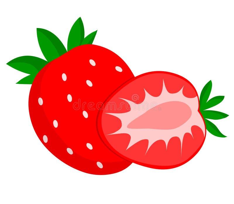 切草莓 库存例证