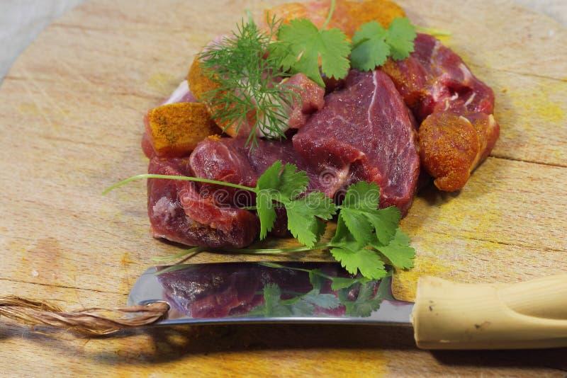 切鲜肉的董事会 库存照片