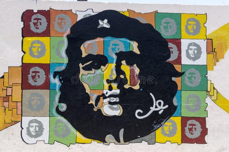切・格瓦拉壁画在哈瓦那 库存图片