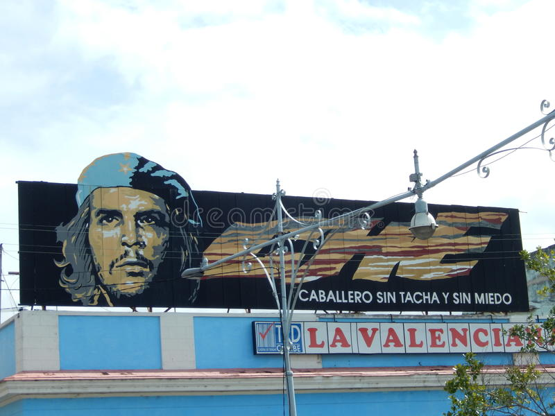 切・格瓦拉横幅,西恩富戈斯,古巴 库存图片