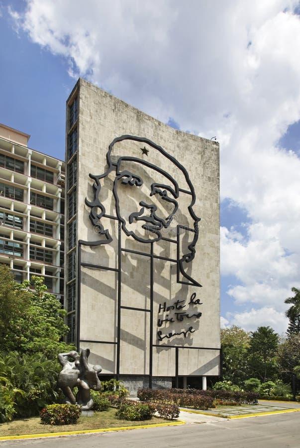 切・格瓦拉的图象革命正方形的在哈瓦那 古巴 免版税库存图片