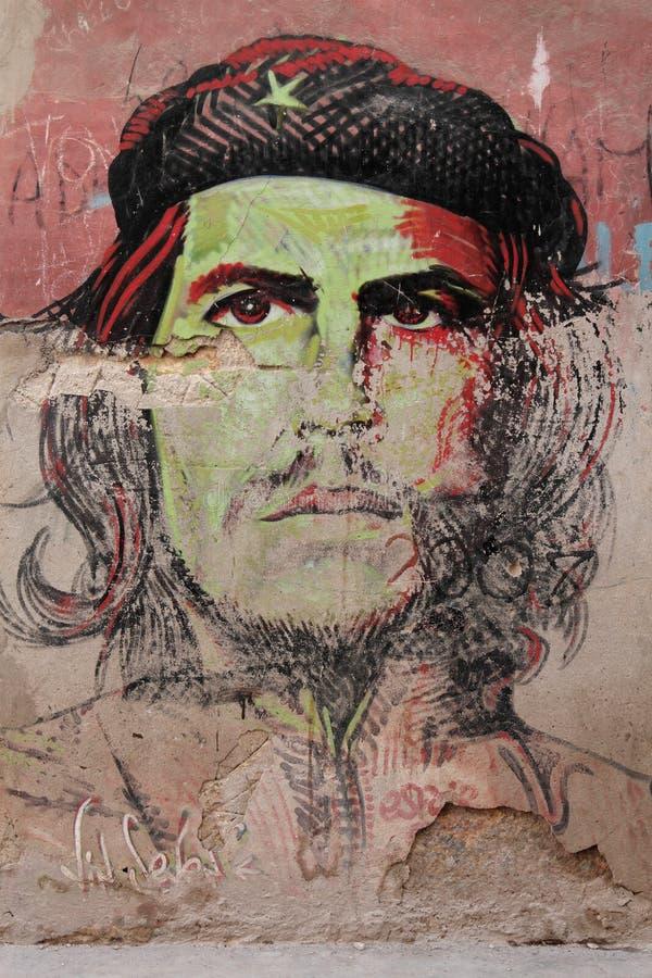 切・格瓦拉画象在墙壁上的 库存照片