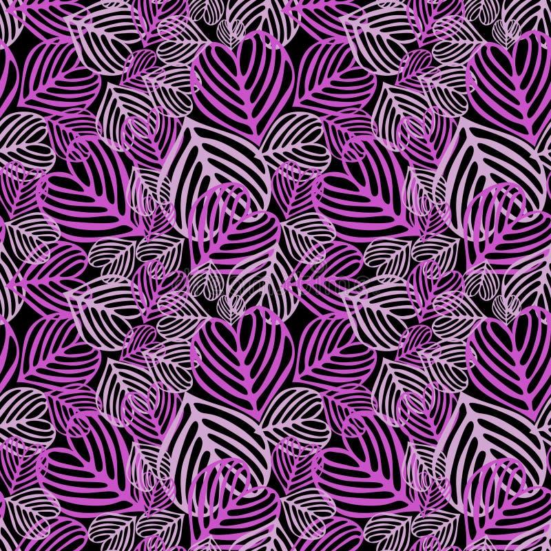 划分为的叶子紫色无缝 向量例证