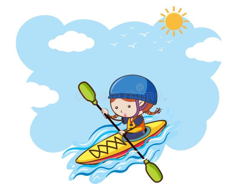 划皮船在晴天的女孩 向量例证