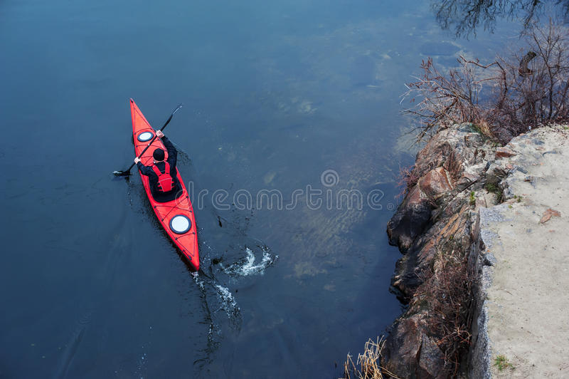 划皮船在河,后方view02 库存照片