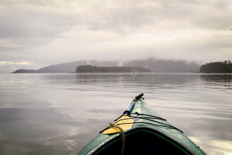 划皮船在阿拉斯加的原野 库存照片