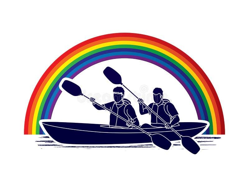 划皮船的人员 库存例证