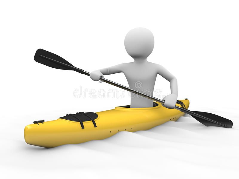 划皮船的人 向量例证