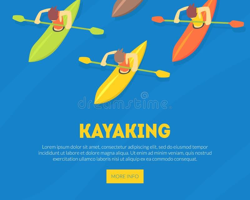 划皮船的水上运动着陆页模板,用浆划皮船,极限运动传染媒介例证的运动员 皇族释放例证