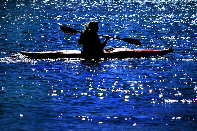 划皮船的湖 免版税图库摄影