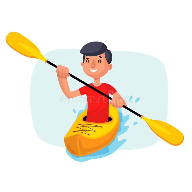 划皮船的用浆划在小船传染媒介 儿童有父亲的乐趣一起使用 桨桨 体育,室外活动 隔绝在白色动画片 库存例证