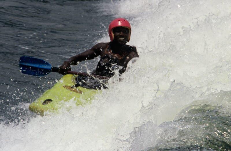 划皮船的Whitewater,南非 免版税库存照片