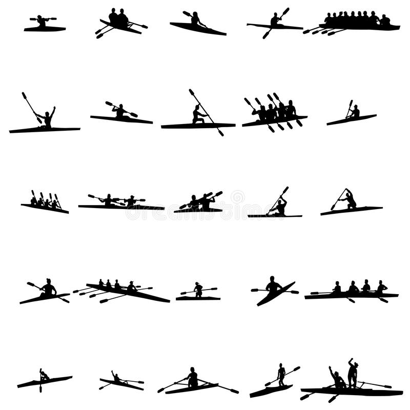划船剪影集合 向量例证