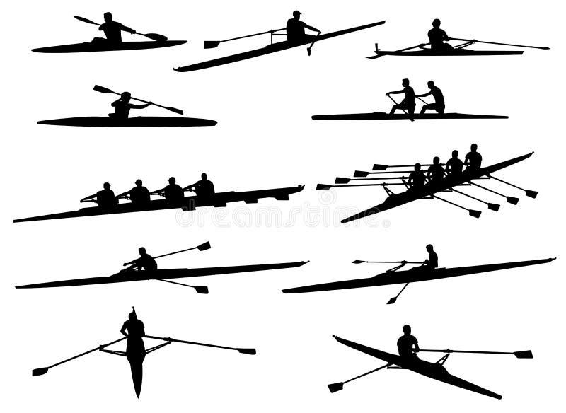 划船剪影 库存例证