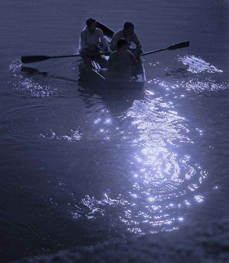 划船月光 库存照片