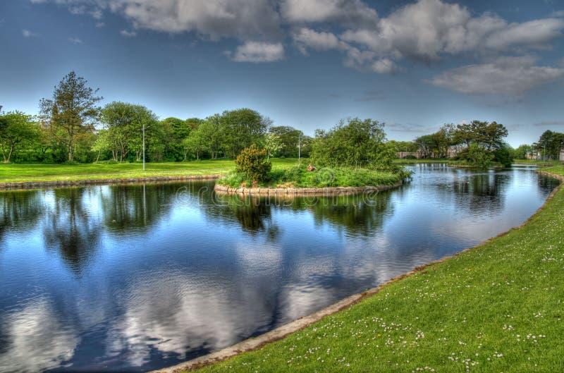 划船池塘在苏格兰 免版税库存图片