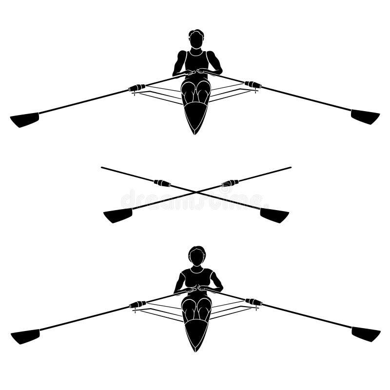 划船者剪影 向量例证