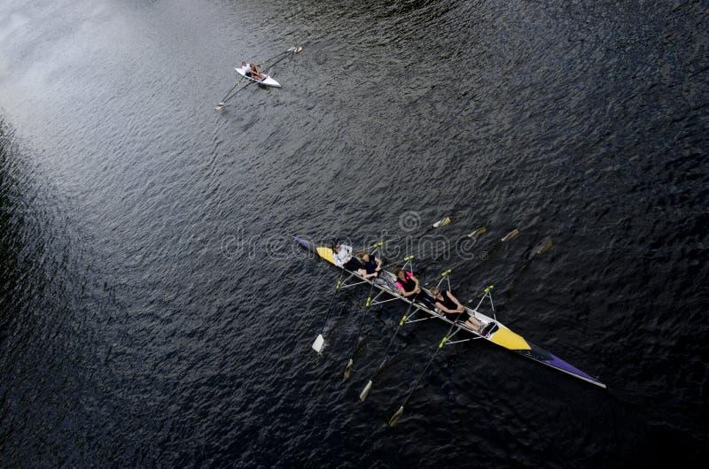划船者在河的划艇在约克英国 划皮船的 免版税库存图片