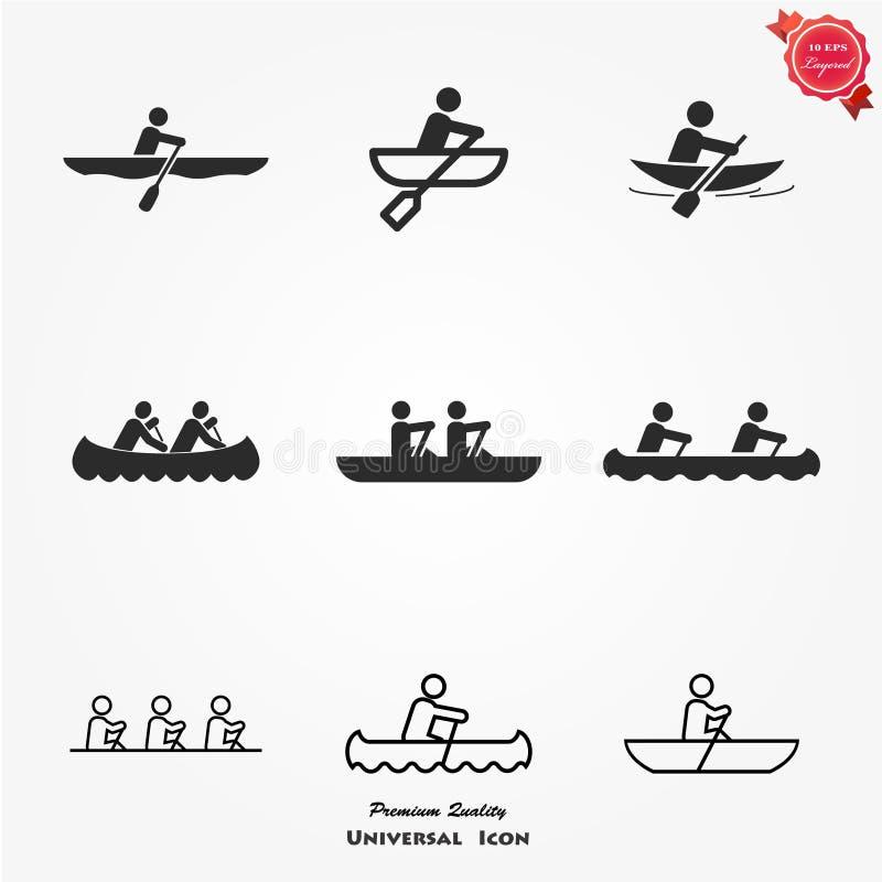 划船象集合 库存例证