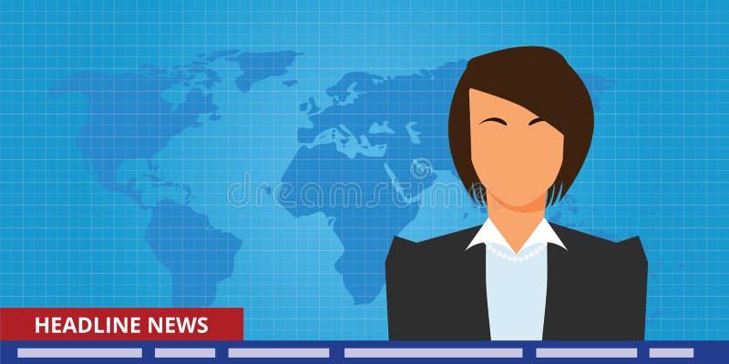 列为头条新闻或最新新闻妇女电视记者赠送者 向量例证