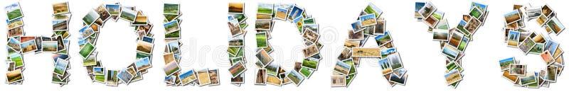 在白色背景的标题假日 免版税库存照片