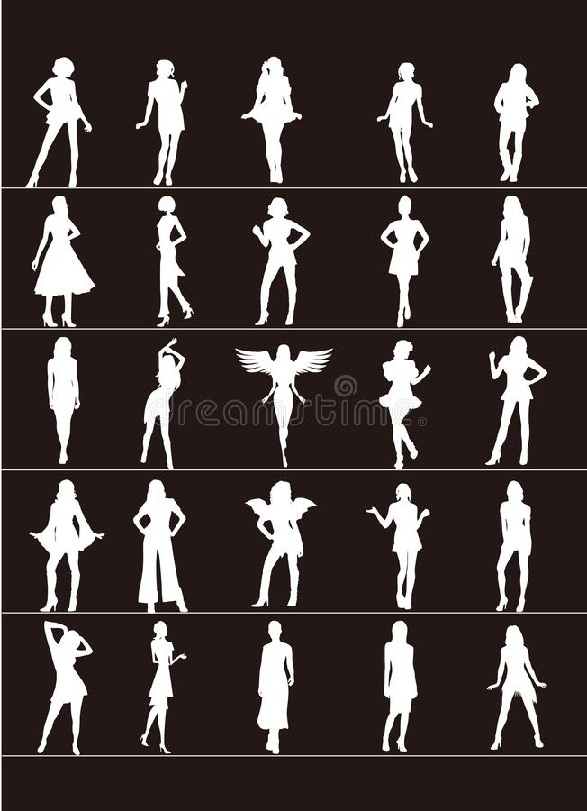 White silhouette female standing on a black background. Vector illustration. royalty free illustration