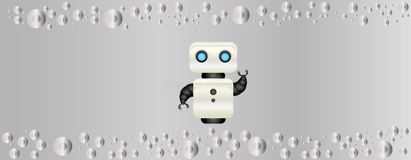 Tech background vector design.Artificial intelligence technology background vector design.Robot in the middle of the picture. royalty free illustration