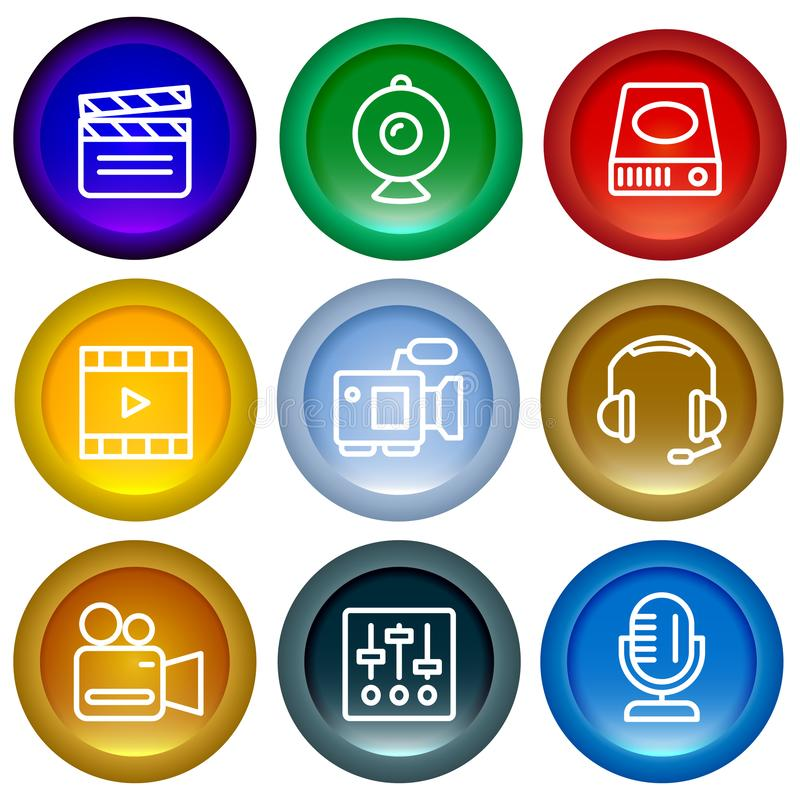 Set of web buttons glossy icons. royalty free illustration