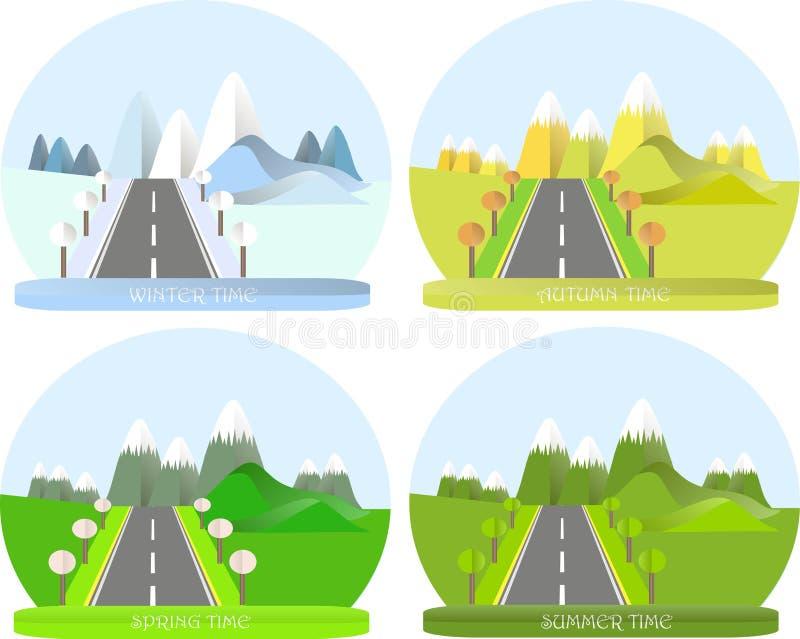 系列四个季节 与路的山风景在冬天 向量例证